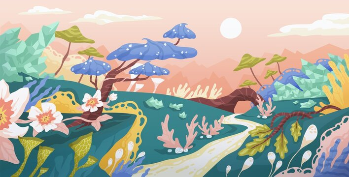 Magic landscape of fantasy world with imaginary plants. Panorama of fairy tale planet with whimsical trees and flowers. Fantastic dreamy scenery. Colored flat vector illustration of fairytale place