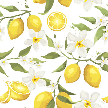 Summer pattern with lemon branch. and jasmine flowers. Background with citrus fruits, vector illustration, print.