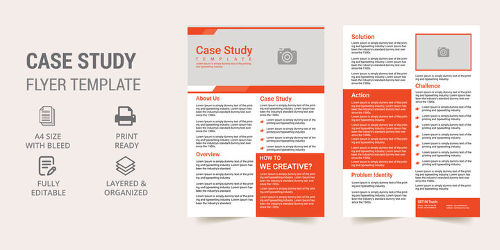Corporate Case Study Template | Corporate Digital Marketing Flyer | Double Side Flyer Template | Business Case Study Booklet Layout