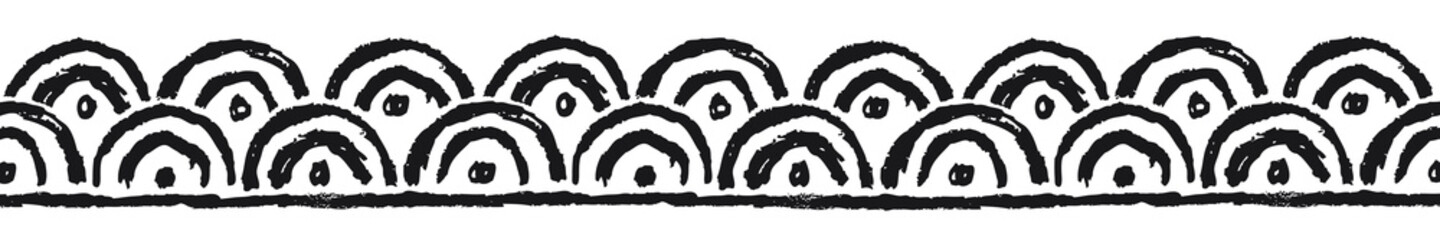 Fototapeta Ethnic border with circles, black. Linear border made in tribal style, made from hand-drawn drawings.
