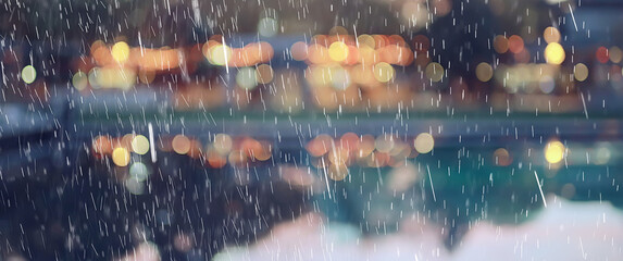 Obraz abstract autumn rain background in the night city, drops falling october night - fototapety do salonu