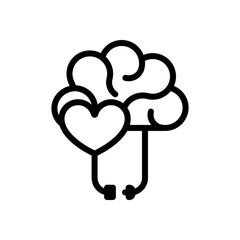 Obraz Heart and brain, balance between emotion and logic. Black linear icon with editable stroke on white background - fototapety do salonu