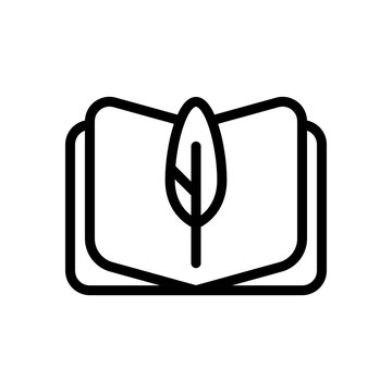 Feather and paper, literature book, published story. Black linear icon with editable stroke on white background