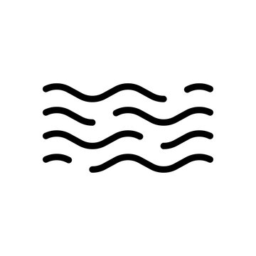 Simple wave icon, sea or ocean, abstract business logo. Black linear icon with editable stroke on white background