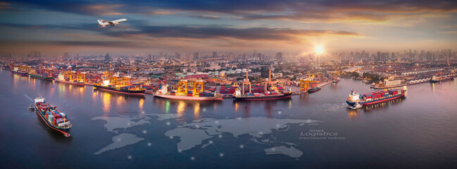 Fototapeta Aerial view and top view cargo plane flying above ship port in the export and import business and Smart logistics international goods. Shipping cargo to harbor by crane