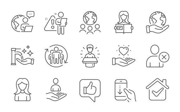 Hold heart, Recruitment and Woman line icons set. Woman read, Brand ambassador and Like signs. Save planet, Global business and Delete user symbols. Teamwork, Scroll down and Washing hands. Vector