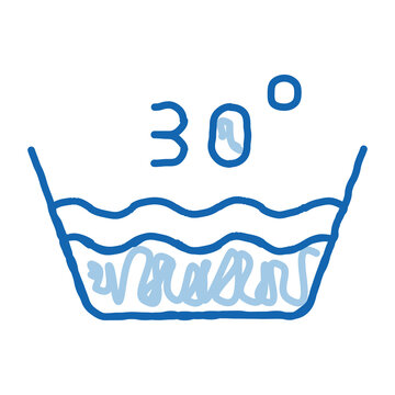 Laundry Thirty Degrees Celsius doodle icon hand drawn illustration