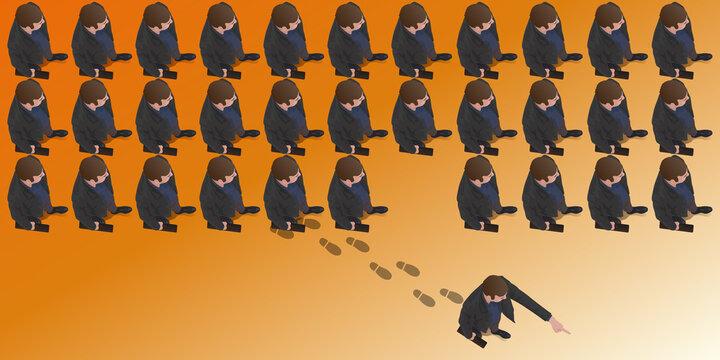 Concept du leadership, avec un homme qui sort des rang et indique du doigt la direction à suivre en choisissant sa propre voie.