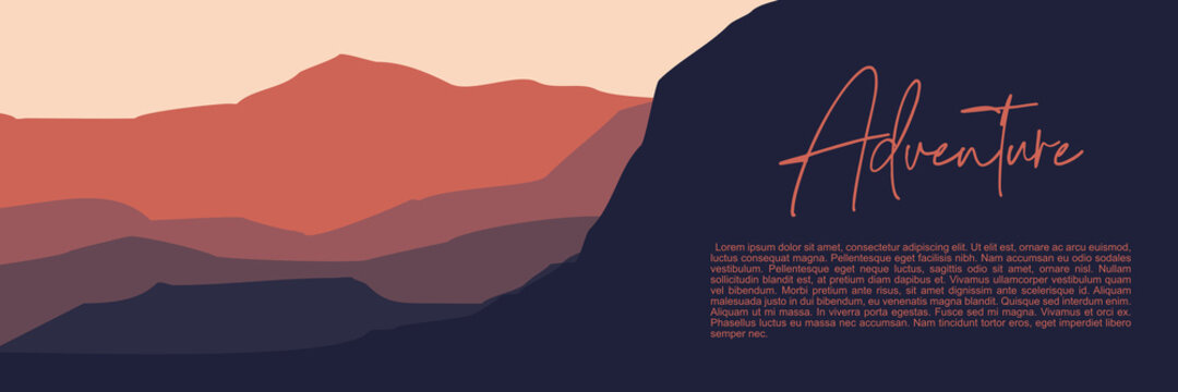 minimalist sunset mountain landscape illustration vector for banner background, web background, apps background, tourism design template and adventure backdrop