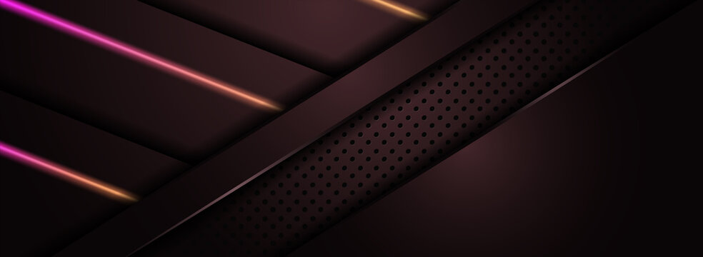 Abstract Maroon Background Design Combined with Shinny Orange and Purple Gradient Lines.