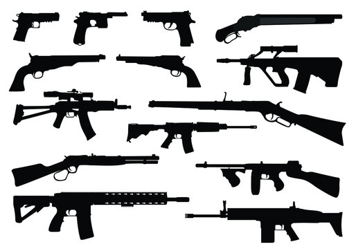 Weapon collection. Set of various weapons guns pistols and rifles vector isolated on white background. Big arsenal weapon. Automatic guns, Battle game weapons. Pistol, shotgun and launcher, rifles.