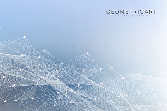 Hexagonal abstract background. Big Data Visualization. Global network connection. Medical, technology, science background. Vector illustration