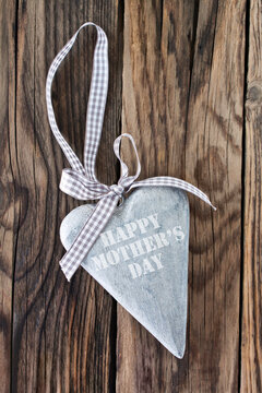 Happy Mother's Day and wooden heart