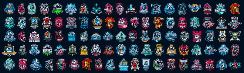 Obraz Huge set of colorful sports logos, emblems. Logos of knights, horses, superhero, soldier, skier, mountain bike, soccer ball, bear, eagle, cowboyfirefighterVector illustration isolated on background - fototapety do salonu