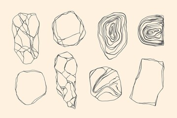 Set of stones with edges, shapes, marble, granite, geodes. Line art style. Black and white grunge crack, curls, waves.