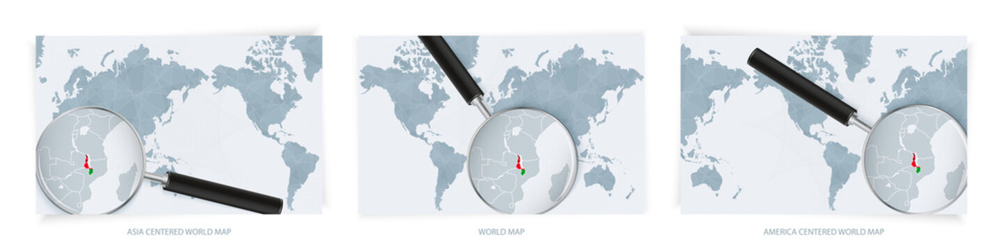 Blue Abstract World Maps with magnifying glass on map of Malawi with the national flag of Malawi. Three version of World Map.