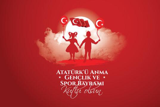 19 mayis Ataturk'u Anma, Genclik ve Spor Bayramiz , translation: 19 may Commemoration of Ataturk, Youth and Sports Day, graphic design to the Turkish holiday, children logo. vector illustration