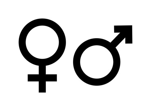 Gender icon. Symbol of male, female and unisex. Sign of women or man gender. Black sexual pictogram. Icon for toilet, bathroom and wc. Logo of partners, love and family. Marital connection. Vector