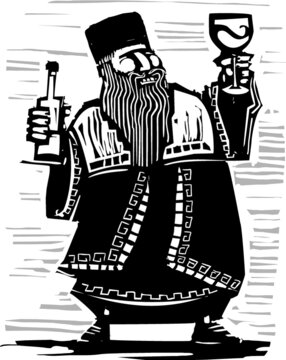 Woodcut expressionist style image of a russian czar with a bottleo wine and goblet