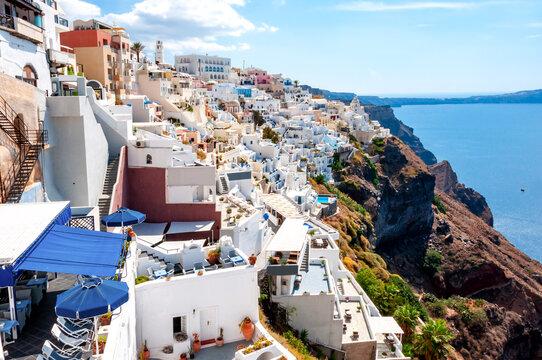 Thira town cityscape on Santorini island, Greece