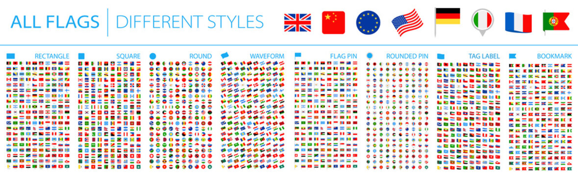All World Flags - Big Set. Different styles. Vector Flat Icons