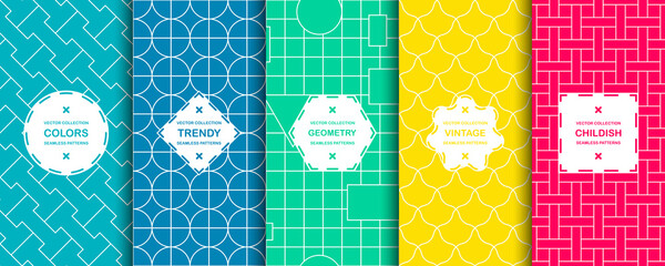 Set of vector seamless colorful ornamental patterns - geometric bright prints. Repeatable vibrant oriental backgrounds