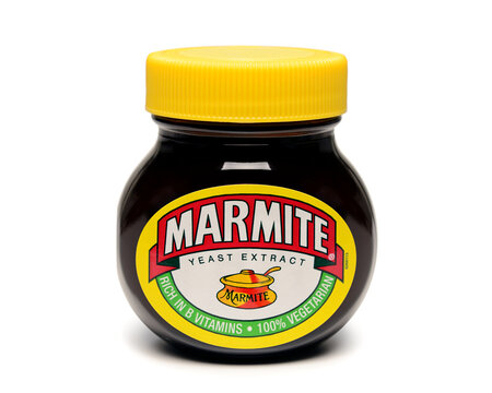 Jar of Marmite, Marmite is a traditional and popular British food. July 20, 2020