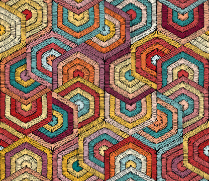 Embroidered seamless pattern. Geometric print for carpets, textiles. Ornament in patchwork. Vector illustration.