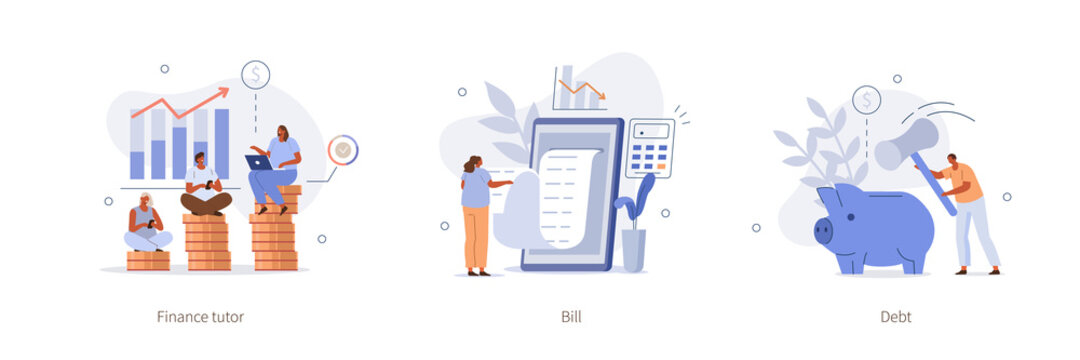 Various Finance Icons. People Calculating Long Bill or Invoice Online, Breaking Piggy Bank to Open, Studying Finance with Tutor. Savings and Managing Finance Concept. Flat Cartoon Vector Illustration.