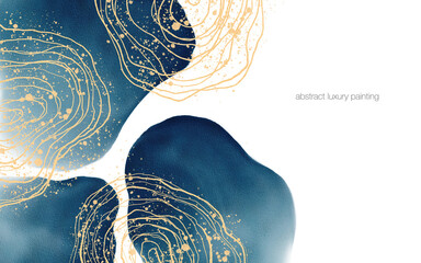 Abstract art luxury painting by beep blue round shape and gold glitter lines with text space for banner, background in luxury style.