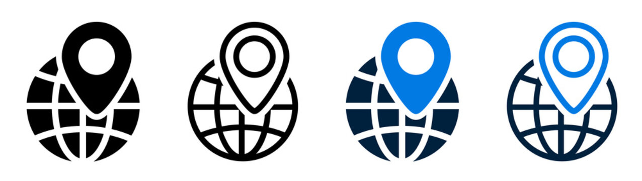 Set of local seo icons. Location on globe, location marker icon. Globe with location marker. Vector illustration.