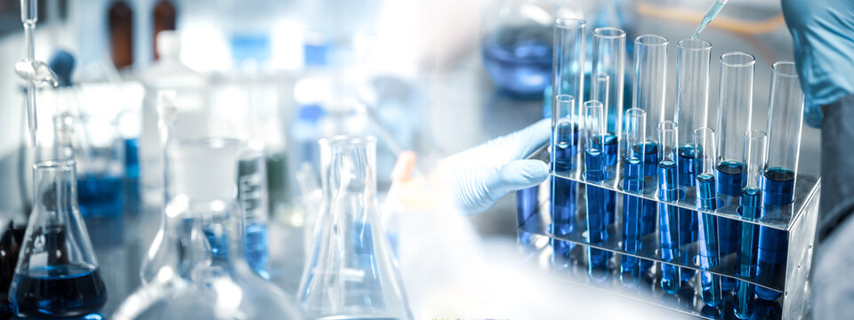 banner of medical laboratory science research from doctor, medicine health for hospital and clinic, scientific chemistry analysis technology for health care test with biotechnology equipment tool