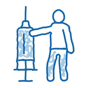 large syringe doodle icon hand drawn illustration