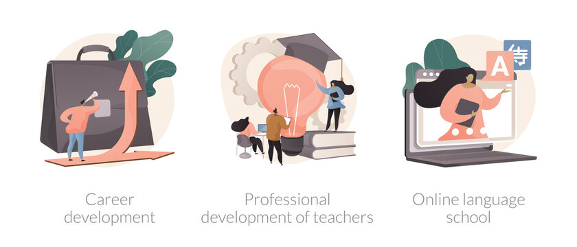 Successful career path abstract concept vector illustrations.