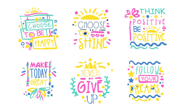 Hand Written Inspirational and Motivational Quotes Vector Set