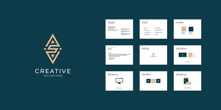 Letter s, ps, psd logo and brand guide template