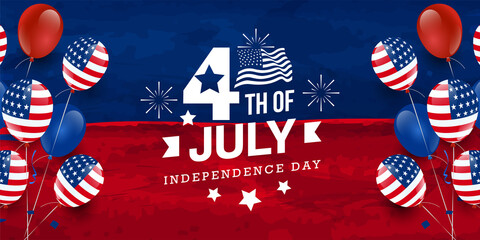 Fototapeta 4th of July celebration USA independence day design with star, fireworks, USA national flag on red & blue watercolor banner background with balloon & confetti. Vector illustration obraz