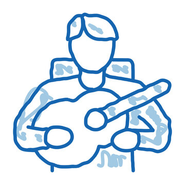bard playing on guitar doodle icon hand drawn illustration
