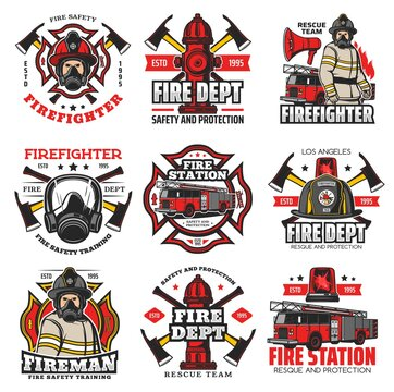 Firefighting icons, fire service retro emblems. Fire department station truck, fireman in helmet and gasmask, water hydrant, axes. Firefighters maltese cross vintage badges with rescue team equipment