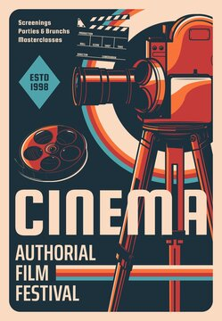 Film festival retro poster. Cinema authorial screenings, classic cinematography festival or masterclass vector invitation or banner. Vintage cinema camera on tripod, tape or film reel and clapperboard