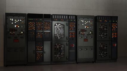 テレビ会議背景用 ZOOM会議背景用 テレビ会議用背景 ZOOM会議用背景 CG 昔のコンピュータ レトロ サーバールーム video conferencing  Wall mural