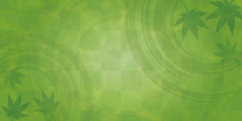 青紅葉と波紋の和風背景 緑 お茶イメージ 横長(サイズ比率2:1)