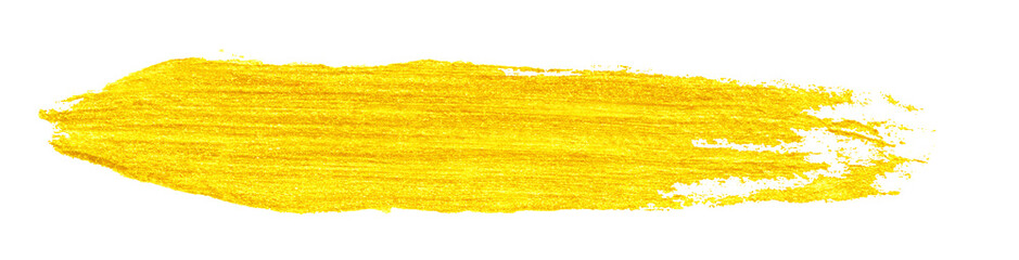 yellow gold colored doodle smear stroke isolated on white backgrounds, hand-drawn golden acrylic...