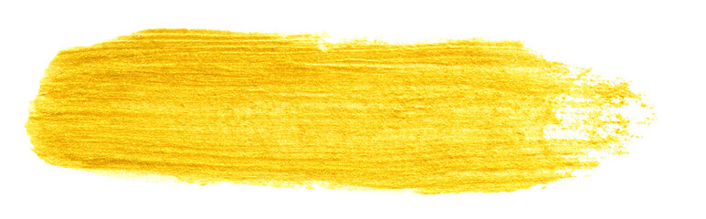 Fototapeta yellow gold colored doodle smear stroke isolated on white backgrounds, hand-drawn golden acrylic paint brush, abstract festive texture, stock photo illustration obraz