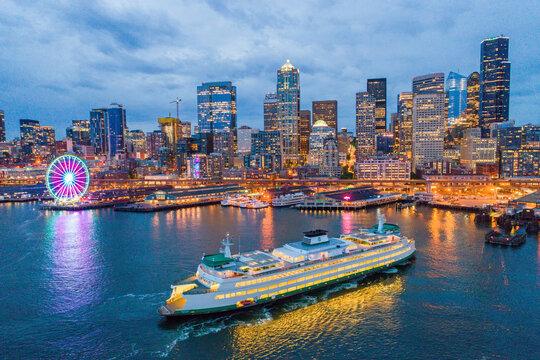 Seattle skyline, Ferris wheel and ferry boat