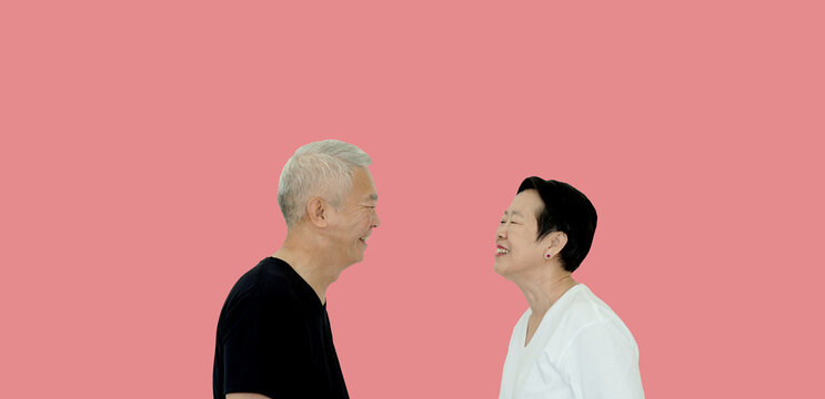 Asian senior couple smile to each other last long eternal love