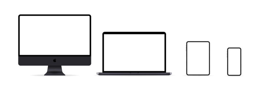 Mac display, Macbook, ipad and iphone icon. Neumorphic UI UX white user interface web button. Neumorphism. Kiev, Ukraine - April, 27, 2021
