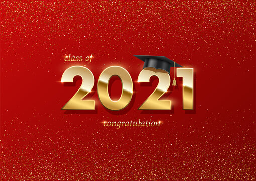 2021 graduation ceremony banner. Award concept with academic hat, golden numbers and text on red background with gold glitter.