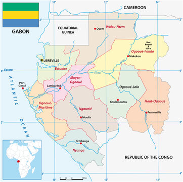 Administrative vector map of the African state of Gabon with flag