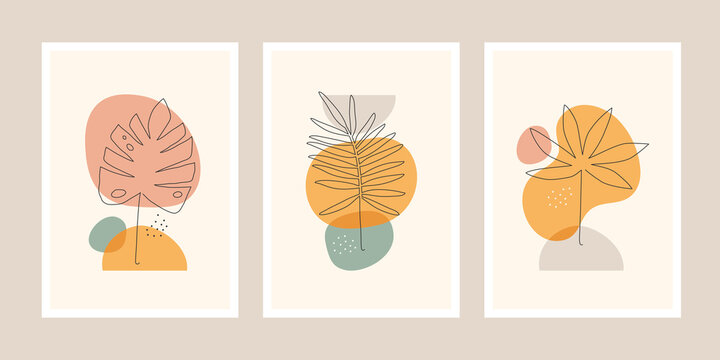 Set of minimalistic posters or cards with line art drawing tropical leaves and abstract shapes.